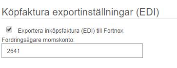 Minuba Fortnox integration Köpfaktura exportinställningar